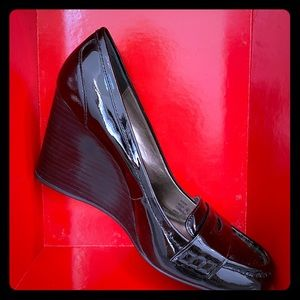 Coach patent leather wedge penny loafers